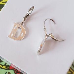 Jewelry - Sterling Silver Diamond Cut Initial Earrings